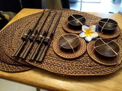 🇻🇳越南手工竹籐編隔熱餐杯墊筷子調味碟套裝Vietnam handmade bamboo mat chopstick