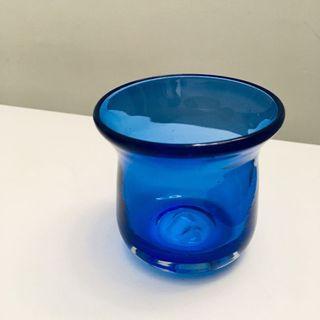 藍色 玻璃 蠟燭座 蠟燭杯 Blue Candle Glass Cup