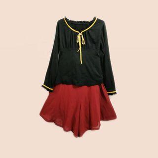Buy 1 free 1 Maroon high waist short cullotes free frill neck top