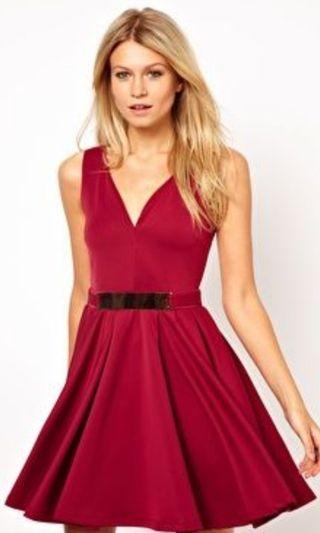 ASOS burgundy skater dress