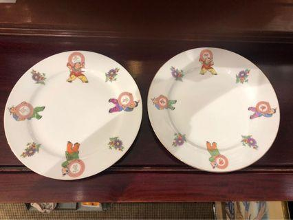 A pair of vintage Kung Fu kids porcelain plates (一对旧功夫童子福贵 长命瓷盘)2pc
