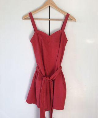 size 6 glassons red linen playsuit