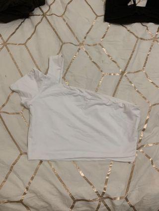 Kookai cross shoulder white crop