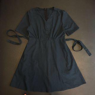 深藍色棉麻連身裙