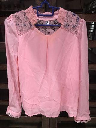 Pink Lace Top Longsleeve