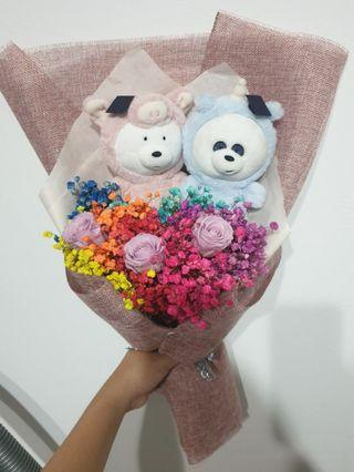 🚚 Graduation icebear & panpan Baby breaths Bouquet with roses #EndGameyourExcess