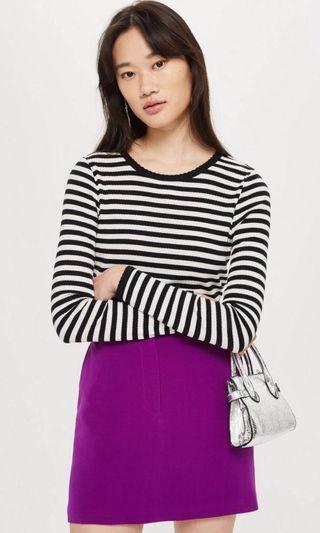 Topshop striped scallop top