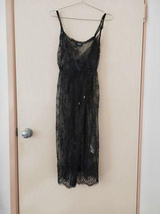 lace see through black long