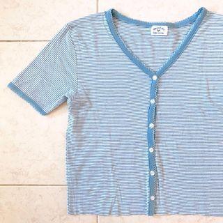 Trim Scallop Detail Baby Blue Stripe Button Down Crop Top