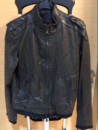 Unisex leather bomber jacket