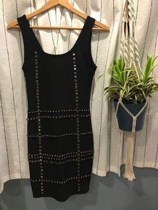 🚚 Black Studded Party Dress