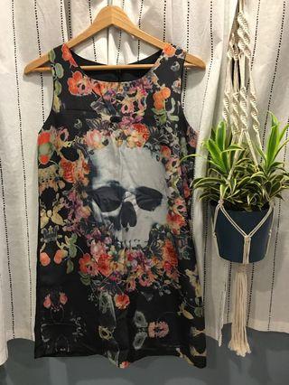 🚚 Skull Faces Floral Dress