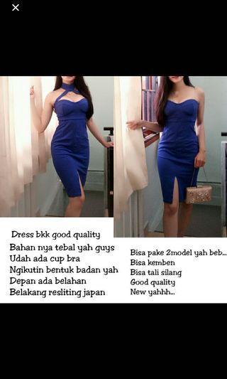 Dress bodycon blue biru