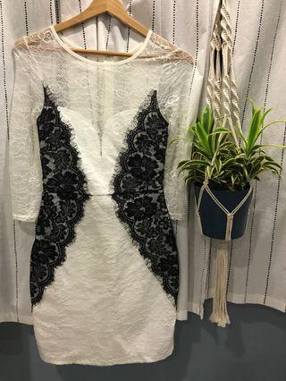 🚚 Long Sleeves White and Black Lace Dress