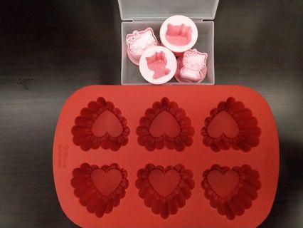 Hello Kitty cookie mold & Wilton heart bake mould
