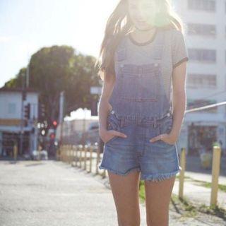 Brandy Melville 藍色不修邊丹寧牛仔連身短褲