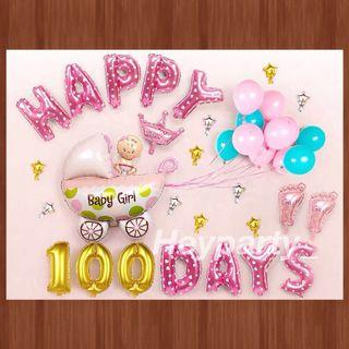 🚚 100 Days Baby Girl Balloons