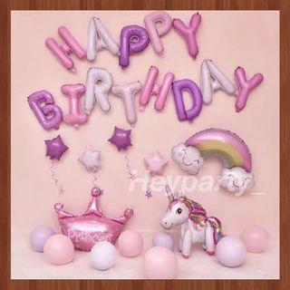 🚚 Unicorn Birthday Balloons backdrop (Princess)