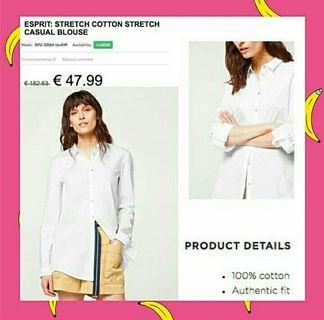 Esprit white basic longsleeve shirt
