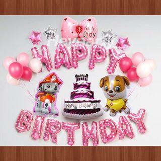 🚚 Paw Patrol Birthday Balloons (Pink)