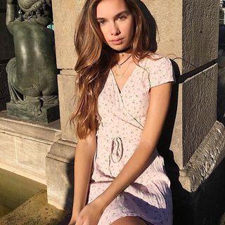 Brandy Melville 法式歐美淡粉色碎花綁帶短袖洋裝