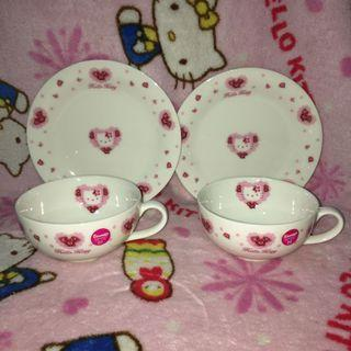 Hello Kitty Ceramic Teacup With Saucer 2 Sets