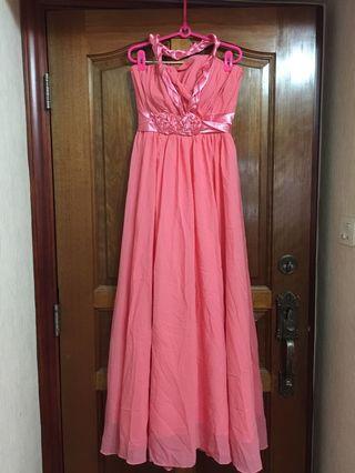 心形胸 掛頸 收腰 晚裝裙 pre wedding party gown