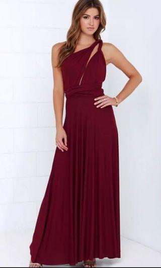 Convertible/ Multiway Long Dress (Maroon)