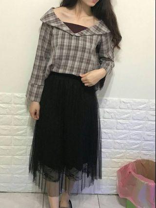 🚚 網紗拼接黑裙