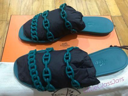 e3a697c76041  INSTOCK  Hermes PVU Nude Jelly Sandals