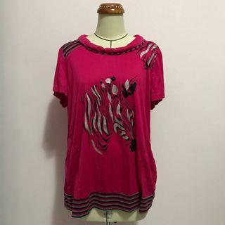 🚚 台灣設計 冰涼彈性材質 質感桃紅色 閃亮斑馬手縫壓克力裝飾