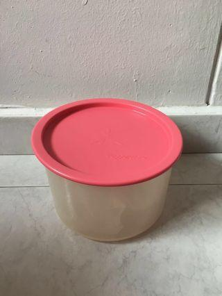 BN Tupperware Round Container With Pink Lid