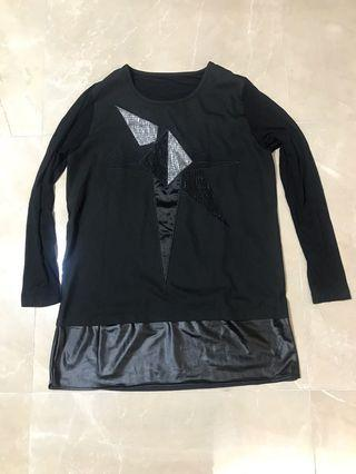 中大碼 銀黑色併花加彷皮黑色薄身衫裙 fit medium & large size silver & black light casual top & dress
