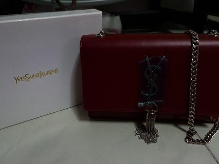 Ysl Kate tassel bag maroon silver hardware