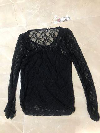 全新 NEW 165/88A 大碼 large size 黑色蕾絲衫連打底黑色背心 Black Lace Top with base vest