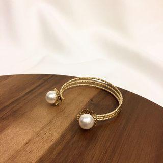 🚚 日系復古風格簡約金屬珍珠手環