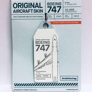 ✈️ 最後拼色‼️國泰藍白波音747-400退役機身鑰匙牌 Original Aircraft Skin Cathay Pacific Boeing 747-400 (B-HUI) Blue+White Aviationtag