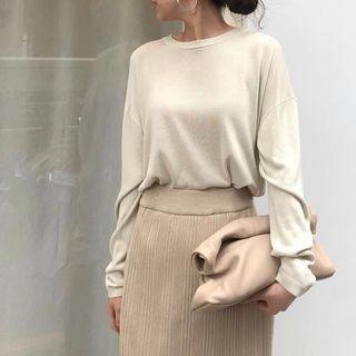 miim糸 坑條針織裙/杏