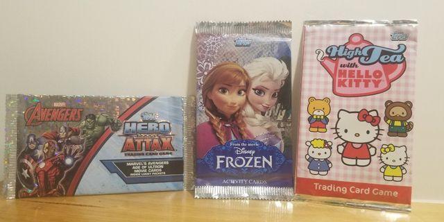 全新 遊戲咭3包 未拆 Kitty Frozen Marvel