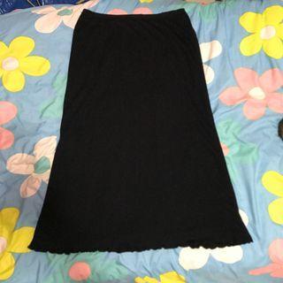 🚚 日本親自帶回古著 日本製 微閃亮紗線 百搭黑色基礎厚實針織長裙 復古花瓣波浪下擺