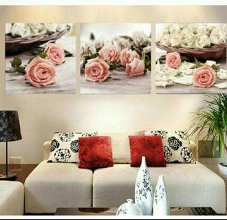 In stock - 3pcs sweet roses canvas painting