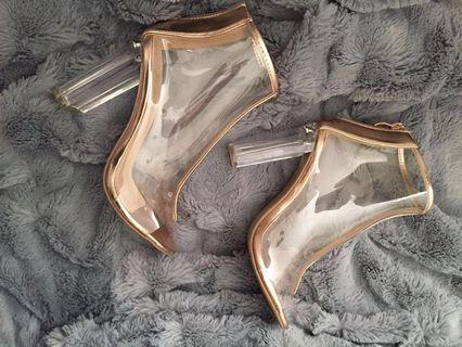 Open-toe Ankle Boots - Transparent