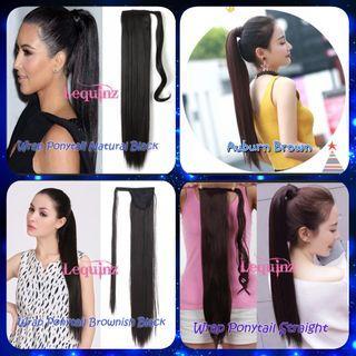 Sleek Ponytail Long Hair Extensions Wrap Around