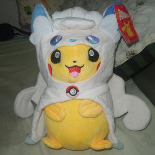 pokemon pikachi 比卡超扮冰系六尾公仔 11吋高