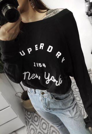 🚚 Authentic Superdry Black Pullover Sweater
