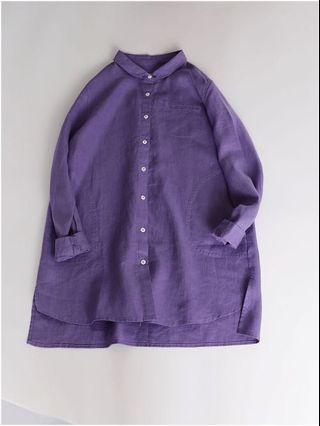 紫色纯亞麻長款衫