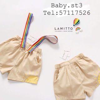 夏季新款彩虹背帶卡其色褲子