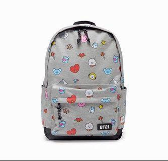 [OFFICIAL] BT21 GREY PATTERN BACKPACK