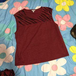 🚚 義大利 酒紅色虎紋豹紋透膚 雪紡無袖上衣 紅黑紗線交織 質感好