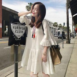 雪紡連身衣裙4XL(白色)